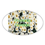 Flower Power Oval Sticker