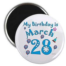 March 28th Birthday Magnet