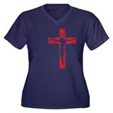 CRUCIFIX Women's Plus Size V-Neck Dark T-Shirt