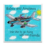 Cute Airplanes Tile Coaster