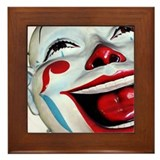 Laughing Clown Face Art Framed Tile