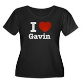 I love Gavin Women's Plus Size Scoop Neck Dark T-S