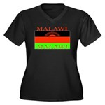 Malawi Flag Women's Plus Size V-Neck Dark T-Shirt