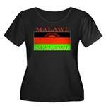 Malawi Flag Women's Plus Size Scoop Neck Dark T-Sh