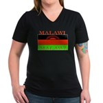 Malawi Flag Women's V-Neck Dark T-Shirt