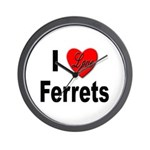 I Love Ferrets Wall Clock
