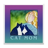 CAT MOM Ceramic Tile Coaster