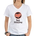 Anti-Valentines Bah Humbug Women's V-Neck T-Shirt
