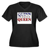 QUINN for queen Women's Plus Size V-Neck Dark T-Sh