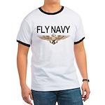 Fly Navy Wings Ringer T