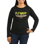 Fly Navy Wings Women's Long Sleeve Dark T-Shirt