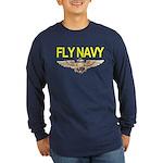 Fly Navy Wings Long Sleeve Dark T-Shirt
