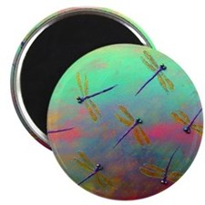 "Green Dragonfly Dreaming 2.25"" Magnet (10 pack)"