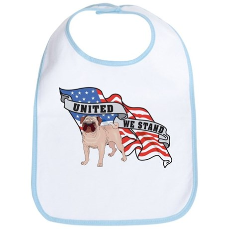 Pug United We Stand American Flag Bib