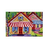 Twin awnings cottages Rectangle Magnet