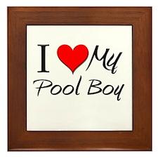 I Heart My Pool Boy Framed Tile