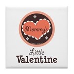 Pink Brown Mommy's Little Valentine Tile Coaster