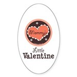 Pink Brown Mommy's Little Valentine Oval Sticker