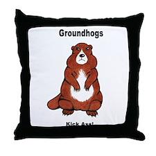 Groundhogs Kick Ass Throw Pillow