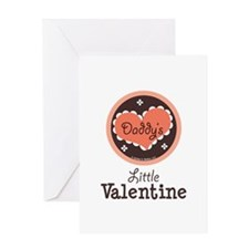 Pink Brown Daddy's Little Valentine Greeting Card
