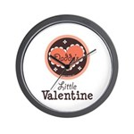 Pink Brown Daddy's Little Valentine Wall Clock