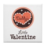 Pink Brown Daddy's Little Valentine Tile Coaster