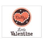 Pink Brown Daddy's Little Valentine Small Poster