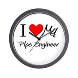 I Heart My Pipe Engineer Wall Clock