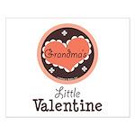 Pink Brown Grandma's Little Valentine Small Poster