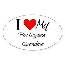 I Heart My Portuguese Grandma Oval Decal