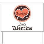 Pink Brown Grandpa's Little Valentine Yard Sign