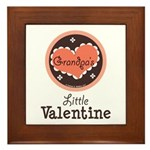 Pink Brown Grandpa's Little Valentine Framed Tile