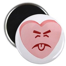 "Pink Yuck Face Heart 2.25"" Magnet (10 pack)"