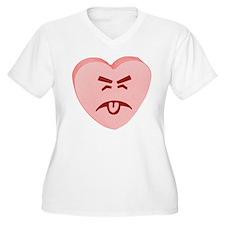 Pink Yuck Face Heart T-Shirt