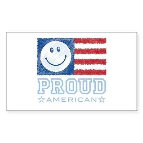 Smiley Face Proud American Rectangle Sticker