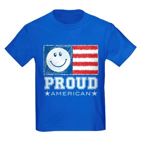Smiley Face Proud American Kids Dark T-Shirt