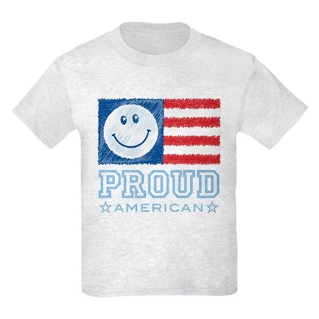 Smiley Face Proud American Kids Light T-Shirt