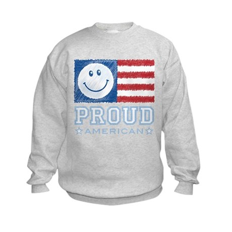 Smiley Face Proud American Kids Sweatshirt