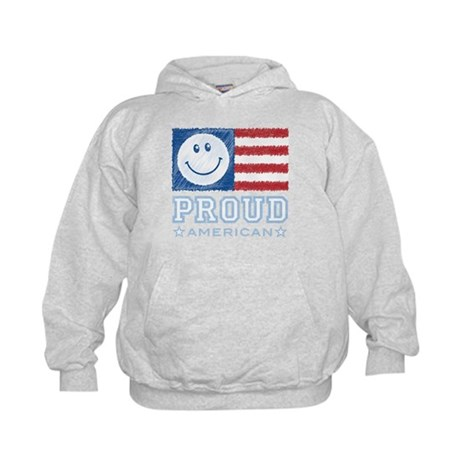 Smiley Face Proud American Kids Hoodie