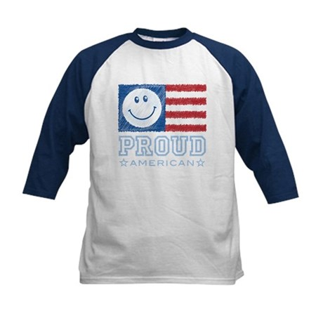 Smiley Face Proud American Kids Baseball Jersey