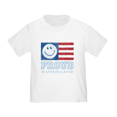 Smiley Face Proud American Toddler T-Shirt