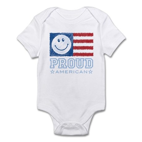 Smiley Face Proud American Infant Bodysuit