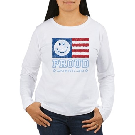 Smiley Face Proud American Women's Long Sleeve T-S