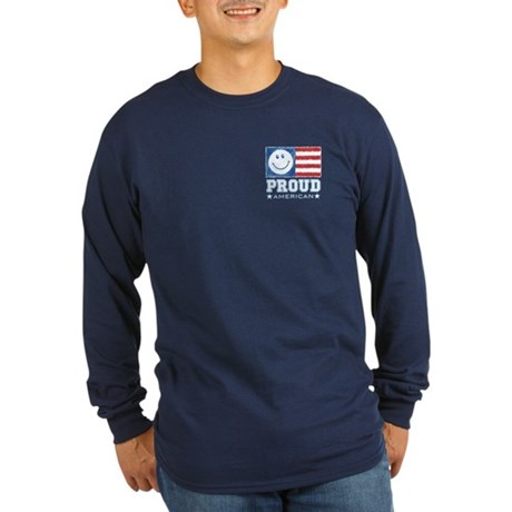 Smiley Face Proud American Long Sleeve Dark T-Shir