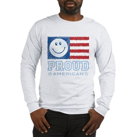 Smiley Face Proud American Long Sleeve T-Shirt
