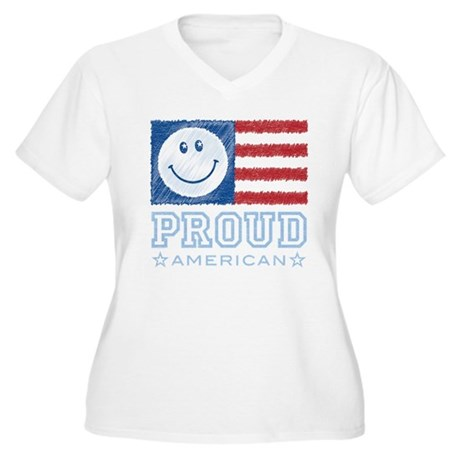 Smiley Face Proud American Women's Plus Size V-Nec