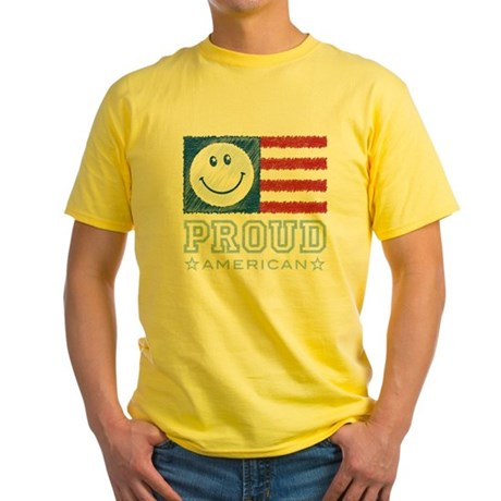 Smiley Face Proud American Yellow T-Shirt
