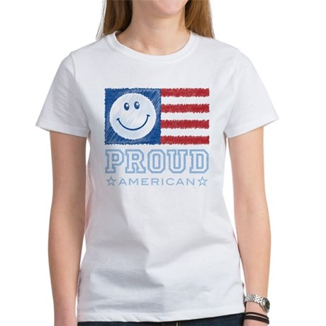 Smiley Face Proud American Women's T-Shirt