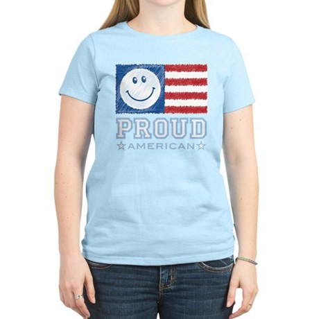 Smiley Face Proud American Women's Light T-Shirt