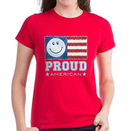 Smiley Face Proud American Women's Dark T-Shirt